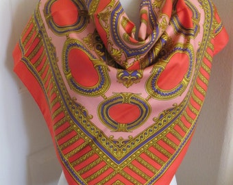 "Large Orange Colorful Ladies Soft Scarf - 34"" Inch 88cm Square"