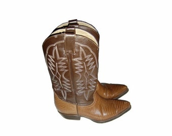 ON SALE Vintage Womens SAN Diego Made In Mexico Classic Western Boots Size 37 Cowgirl