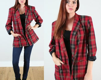 Vintage 80s Red and Black Plaid Boyfriend Blazer