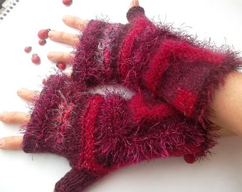 HAND KNITTED GLOVES / Women Accessories Fingerless Mittens Warm Wrist Warmers Arm Winter Feminine Elegant Cabled Romantic Striped Gift 1113