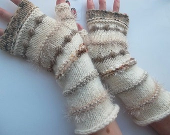 HAND KNIT GLOVES / Women Accessories Fingerless Mittens Elegant Warm Wrist Warmers Arm / Crochet Winter Feminine Romantic Cabled Striped 826