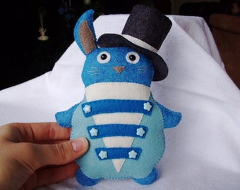Blue Rabbit Plushie Soft Toy Sewn Felted Bunny Top Hat Stuffed Animal
