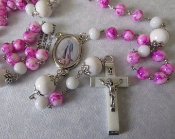 Hot Pink and White Rosary