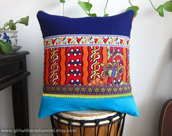 Ethnic Pillow Blue - Cushion in Indigo, Blue and Traditional Batik Mix