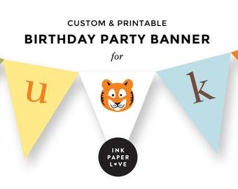 Custom Printable Birthday Party Banner // FOR LUKE // Safari Animals // Lions & Tigers