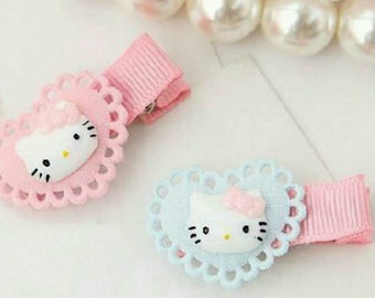 hello kitty cute handmade hairclips - pastel colour