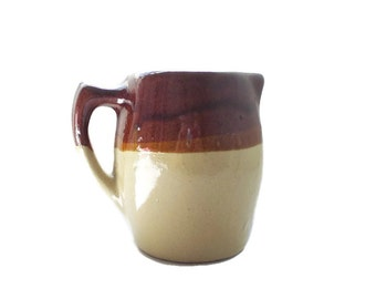 Heavy Stoneware Pitcher Brown Drip Glaze Pottery Pitcher Rustic Kitchenware