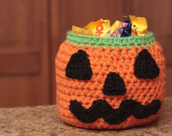 CROCHET PATTERN- Halloween Crochet Patterns, Crochet Pumpkin Pattern, Crochet Basket Pattern, Halloween Candy Bowl- Instant Download (55)
