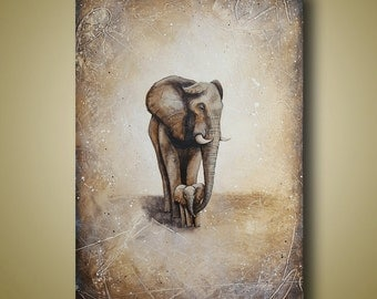 Mother and Baby Elephant Painting - Elepahnt Art Original Painting 24x36 - Neutral Colors - You're Safe With Me by Britt Hallowell