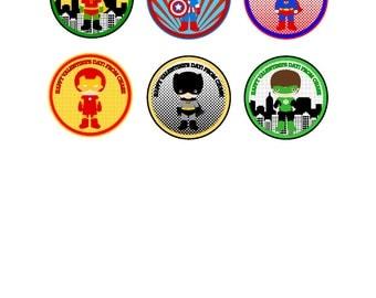 Superhero PRINTABLE tag, personalized favor tag, valentine treat, valentine favor, classroom favor, classroom treat