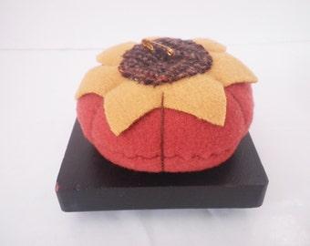 Vintage Wool Felt Pumpkin Pincushion