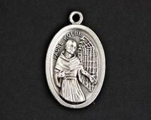Padre Kolbe Medal. Catholic Pendant. Padre Kolbe Pendant. St Maximilian Kolbe Charm. Catholic Saint Medal. 25mm x 16mm (Qty 1)
