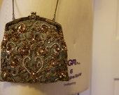 Silk Beaded Bridesmaid Clutch/Bag in Sage Green with Gold/Bronze/Rhinestones