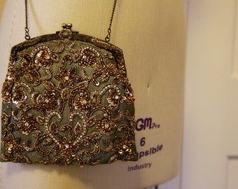 Silk Beaded Bridesmaid Clutch/Bag in Sage Green with Gold/Bronze/Rhinestones