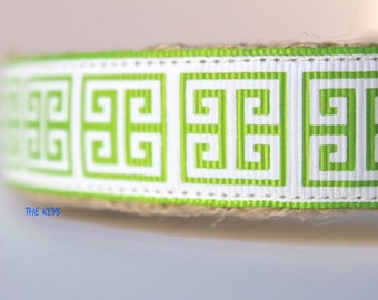 Greek Keys Dog Collar, Spring Dog Collar, Adjustable Dog Collar, Summer Dog Collar