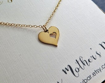 Gift for mom from daughter, heart necklace, mothers day jewelry, gold or silver, mother jewelry,  aunt, grandma