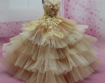 Blythe Outfit Clothing Cloth Fashion handcrafted beads lace tutu gown dress  958-11