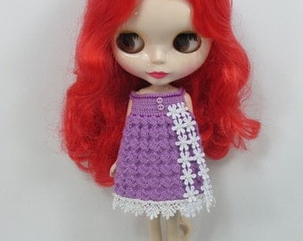 Handcrafted crochet knitting dress outfit clothes for Blythe doll # 100-G