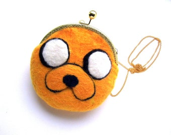Jake the dog Adventure time Wet Felted coin purse Ready to Ship with bag frame metal closure gift for her
