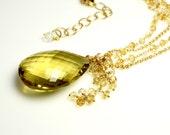 LP 1271  Stunning, Yellow  Quartz Briolette With Citrine And Crystal Quartz Chain Pendant Necklace