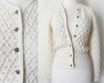 60s German Winter White Diamond Textured Virgin Wool Cardigan with Decorative Metal Buttons Preppy Classic Retro Kitsch size XSmall