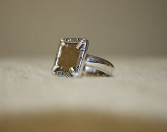 Silver and Gold Ring,Silver Ring,Sterling silver Ring, Silver and Gold , Gold Rings, Handmade Silver Ring,Silver Frame Ring ,Solitaire Ring,