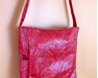 Sam #55  Red Pleather Purse, Faux Leather Shoulder Bag, Project Tote, Travel Bag, Knitting and Crochet Bag, Large Red Tote, Shoulder Purse