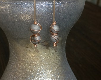 Small Hammered wire wrapped druzy stone Threader Earrings, 14k Gold Filled Earring, Sterling Silver, Rose Gold Fill, Wire Form Earrings