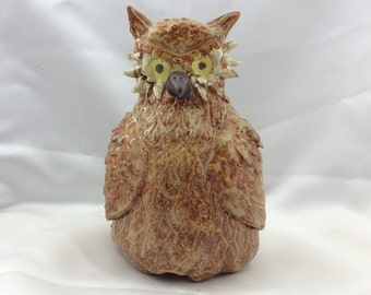 Owl Pottery sculpture, garden sculpture,  hand sculptured, one of a kind, humorous gift, stoneware, high fired glaze.