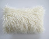 Faux Fur 12 x 18 Lumbar Pillow Cover Curly Mongolian Lamb Zipper Ivory Black or White