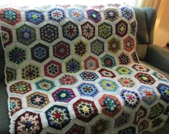 Handmade Crochet Off White (Aran) Edged Multi-Colored Kaleidoscope Afghan 48 x 68