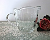 Vintage Anchor Hocking  Savannah Cream Pitcher, Clear Glass with Embossed Flowers - Collectable - Cottage Chic Kitchen -  Bobann23 Kitchen