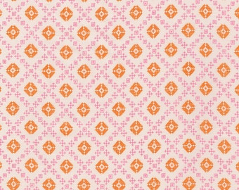 Pink and Orange Geometric Diamond Fleur Cotton Lawn, Woodland Clearing by Liesl Gibson Oliver & S For Robert Kaufman, 1 Yard