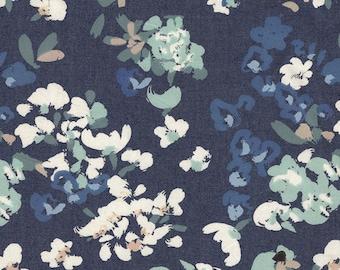 Aqua Blue and Pink Floral Denim Fabric, Art Gallery Denim Studio, 1 Yard