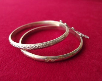 Sterling Silver diamondback bracelet / hinged bangle with geometric texture