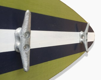 Surfboard Coatrack with Boat Cleats in Navy Blue, Spring Green and White - Choose your Size and Colors
