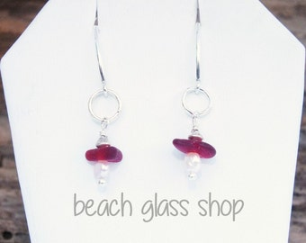 Sea Glass Earrings - RARE RED Seaglass - Lake Erie Beach Glass - Mermaid Tears - FREE Shipping inside the United States