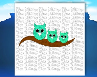 Owls SVG, 3 Owls on a Branch SVG, Owl Cutting File, Cute Owls on a Branch Design, Branch Svg, Three Little Owls Svg