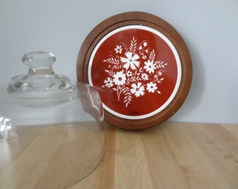 Floral Trivet Cheese Plate with Glass Cover