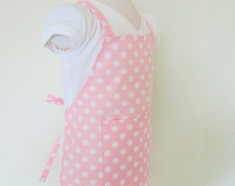Childrens Apron - Pretty Pale Pink Polka Dot Retro Kids Apron - A fun apron to cook or do crafts in, a sweet party favor