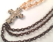 Rustic Glam Asymmetrical Cross Necklace