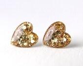 gold glitter heart earrings, gold post earrings, gold glitter stud, nickel free studs, sterling silver earrings, valentines day - LARGE SIZE