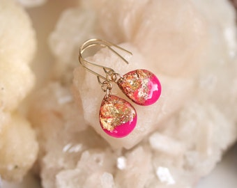 hot pink and gold leaf and glitter tear drop earrings on 14 karat gold fill ear wires