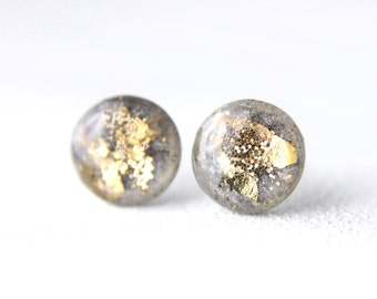 grey and gold leaf and glitter post earrings, glitter earrings, post earrings, green post earrings, resin post earrings, resin earrings