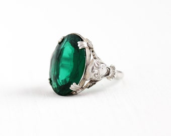 Vintage Art Deco Sterling Silver Simulated Emerald Gargoyle Ring - 1930s Size 6 1/4 Green Glass Stone Stone Unique Figural Gothic Jewelry