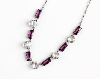 Sale - Vintage Art Deco Simulated Amethyst & White Topaz Necklace - Silver Tone 1920s Purple, White Glass Rhinestone Costume Jewelry