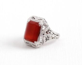 Vintage Art Deco Sterling Silver Carnelian Ring - Antique 1920s Size 5 Flower Filigree Dark Red Raised Chalcedony Gemstone Statement Jewelry