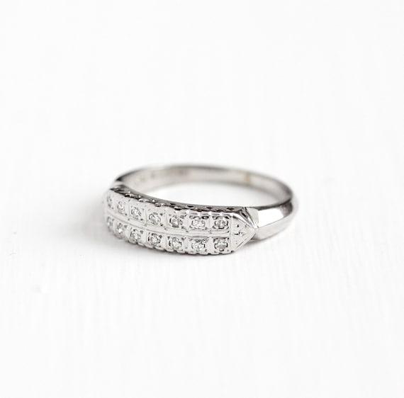 Vintage 14k White Gold Diamond Wedding Band Ring Size 5 1 2 Mid