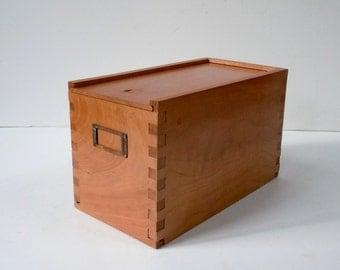 Vintage Cherry Wood Sliding Top Box / Storage Organization / Secret Storage / Wood Box with Label Holder / Recipe Box / Wood Jewelry Box