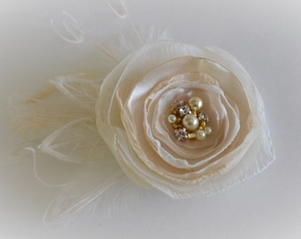 Bridal Ivory and Champagne with gold Flower, Hair flower with ivory lace and feathers, Flower with gold beading and pearls